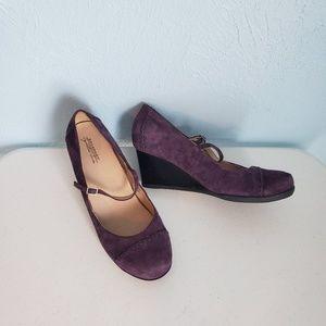 Rockport Sz 9.5 purple suede wedges